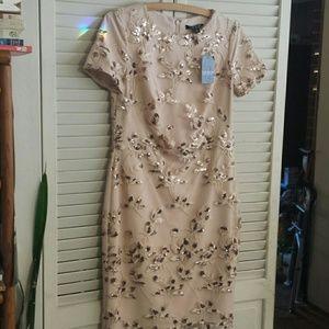 NWT Ralph Lauren Rose Gold Foral Sequin Dress Sz 2